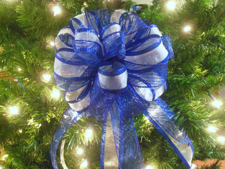 Blue Christmas Tree Topper Cobalt Blue Tree Topper Blue Christmas Wreath Bow Blue Christmas Decor Silver Christmas Tree Blue Christmas Decor Blue Christmas
