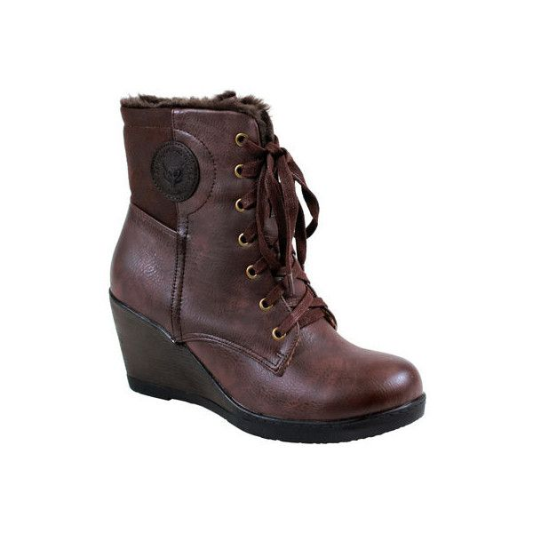 Women's Reneeze Joyce-02 - Brown PU Ankle Boots ($53) ❤ liked on Polyvore featuring shoes, boots, ankle booties, brown, brown boots, ankle boots, brown lace-up boots, brown booties and wedge bootie