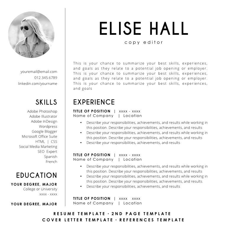 Resume Template with Photo CV Template Resume Template Word - Copy Editor Resume