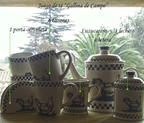 """A contraluz... precioso juego de té de la colección """"Gallina de Campo"""". Tazones, tetera, azucarero, servilletero...para una cálida hora del té. ¡Un inolvidable regalo de matrimonio!"""