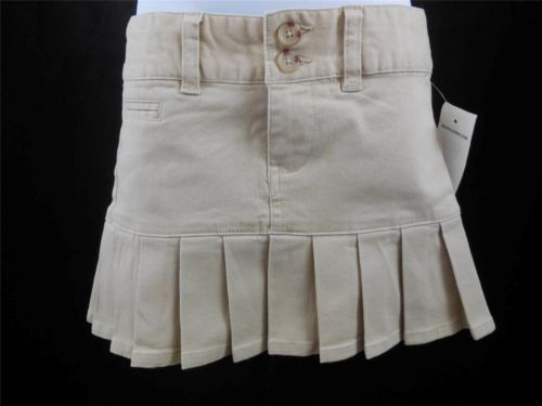 $19.99-RALPH LAUREN Girl's Khaki Stretch Chino Pleated Skirt - Size 4/4T NWT $49