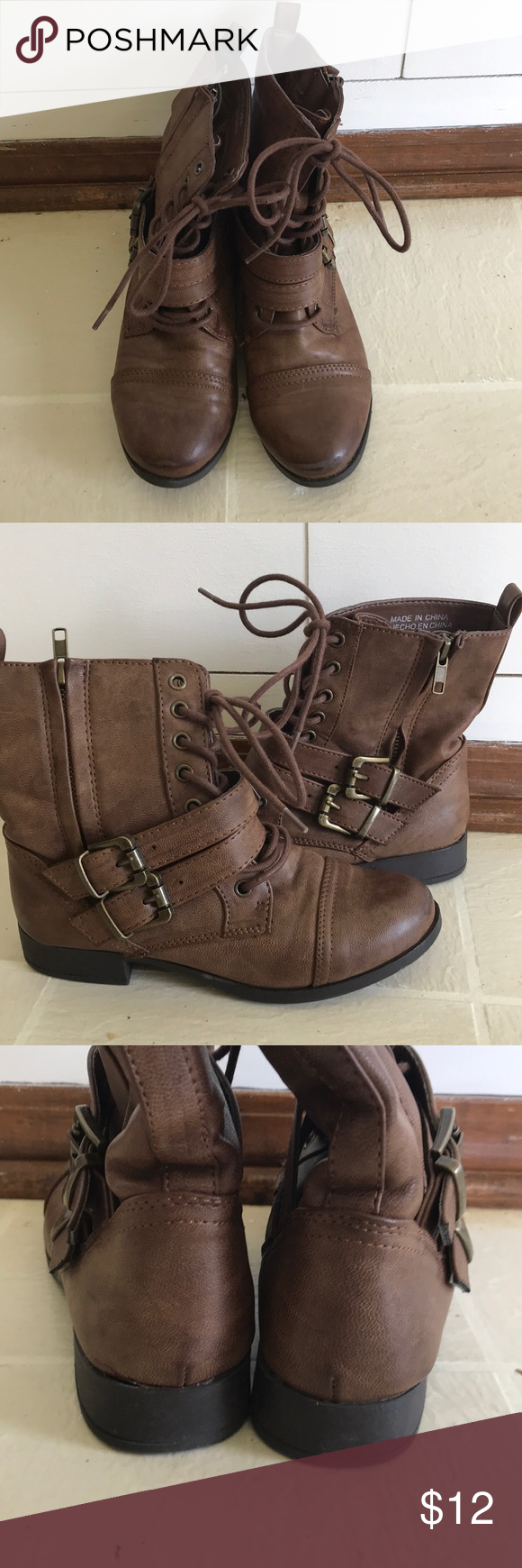 Forever 21 Brown ankle boots with buckles These are so cute and comfy! In  great condition except the very front of the toes have a scuff mark you  could ... 3a81a24e2f