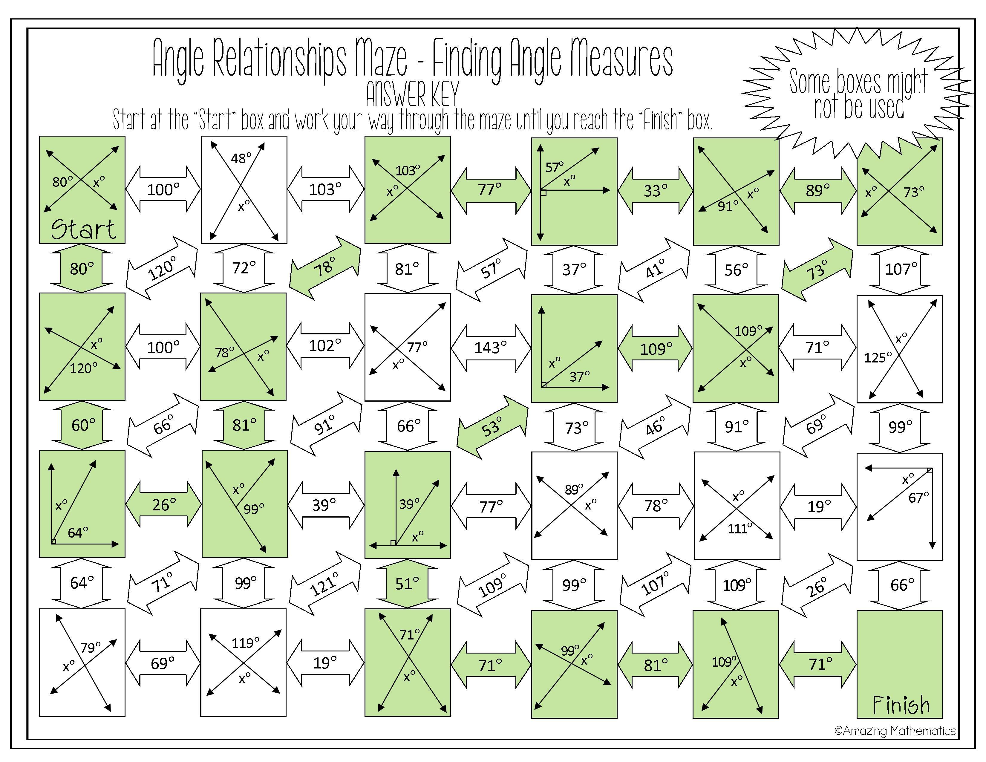 Angle Relationships Maze