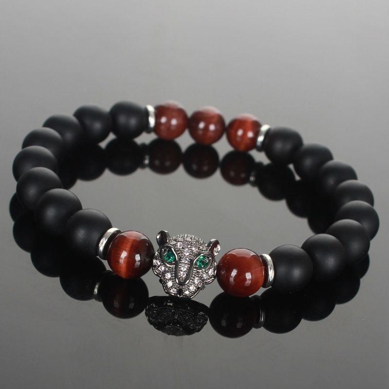 Mans Rhodium Plated Panther Head Matte Onyx Tiger Eye Beads Beaded Bracelets P23