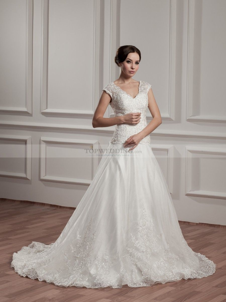 Sleeveless V Neck Wedding Dress With Lace Top