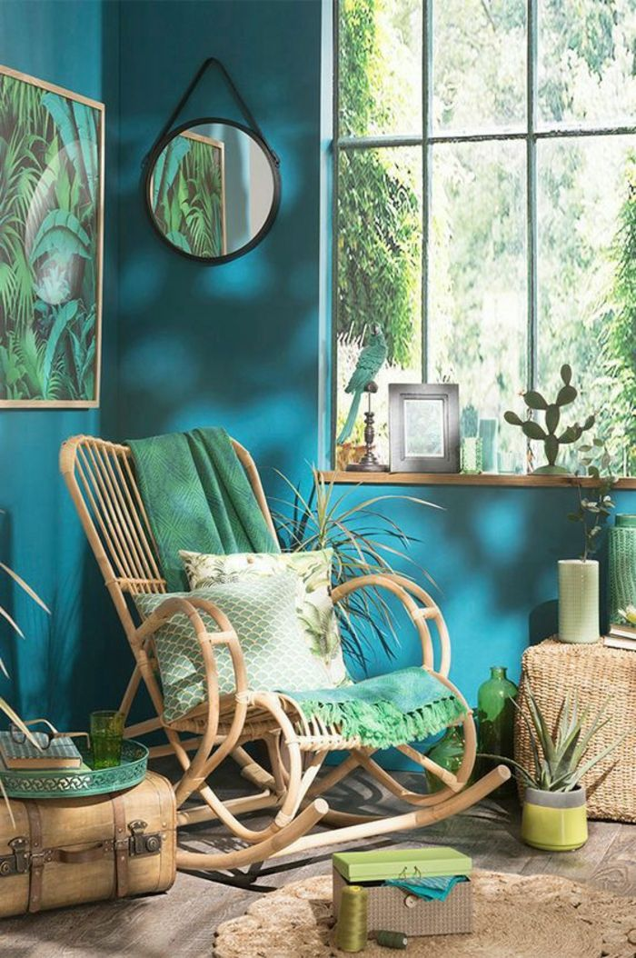 1001 designs stup fiants pour une chambre turquoise murs turquoise motif jungle et fauteil. Black Bedroom Furniture Sets. Home Design Ideas