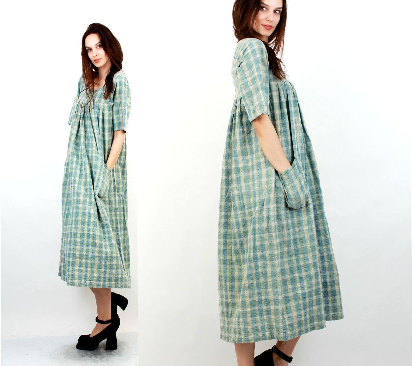 Plaid Cotton Baggy Dress / Vintage Baggy Dress / Summer Dress / Pregnancy Dress / Dress With Pockets / Wide Dress / M / L by Ramaci on Etsy
