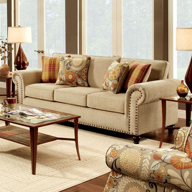 This Rolled Arm Nailhead Trim Beige Sofa Features An Incredible Attention  To Details, Such As