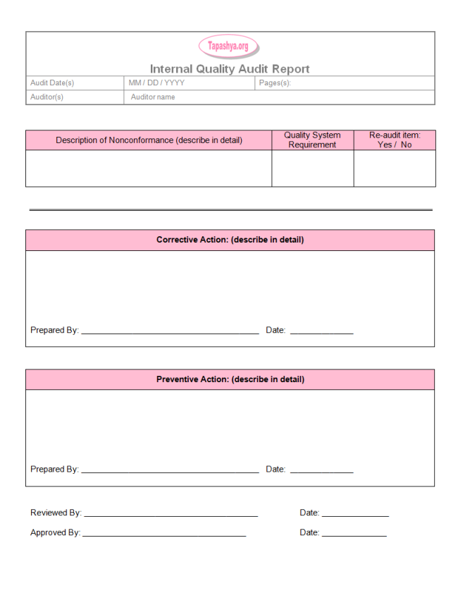 Thogati Perfect Sample Of Internal Quality Audit Report Template With 6e088b23 Resumesample Resumefor Report Template Internal Audit Audit