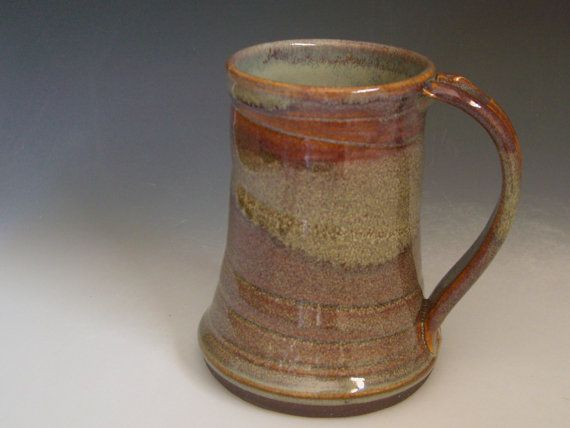 Hand thrown stoneware pottery beer mug   BMN by GuccionePottery, $12.00