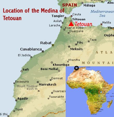 Map showing the location of the Medina of Tetouan UNESCO world