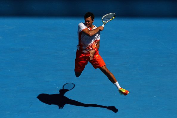 #French #tennis player #Jo #Wilfried #Tsonga #forehand during #Australian #Open 2012 Day 8  By Cameron Spencer on Getty Images
