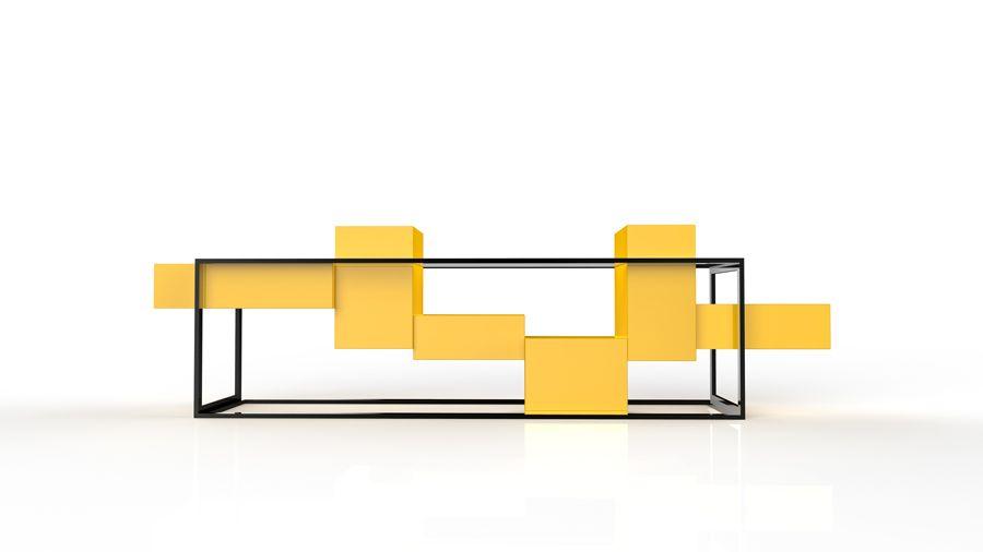 Aparador Tetris A estrutura é de metal e apoia os blocos em madeira (que podem ter a cor ou o acabamento da preferência ). Tampos de vidro são apoiados em guias na estrutura metálica. #andregurgelefelipebezerra #mulapretadesign #brazilsa2015 #milan #milao #milano #designweek