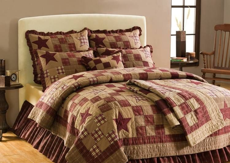Country And Primitive Bedding Quilts Star Patch Bedding By Victorian Heart Country Decor