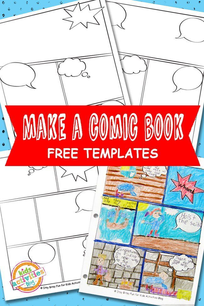 Comic book templates free kids printable free comic for Blank book template for kids