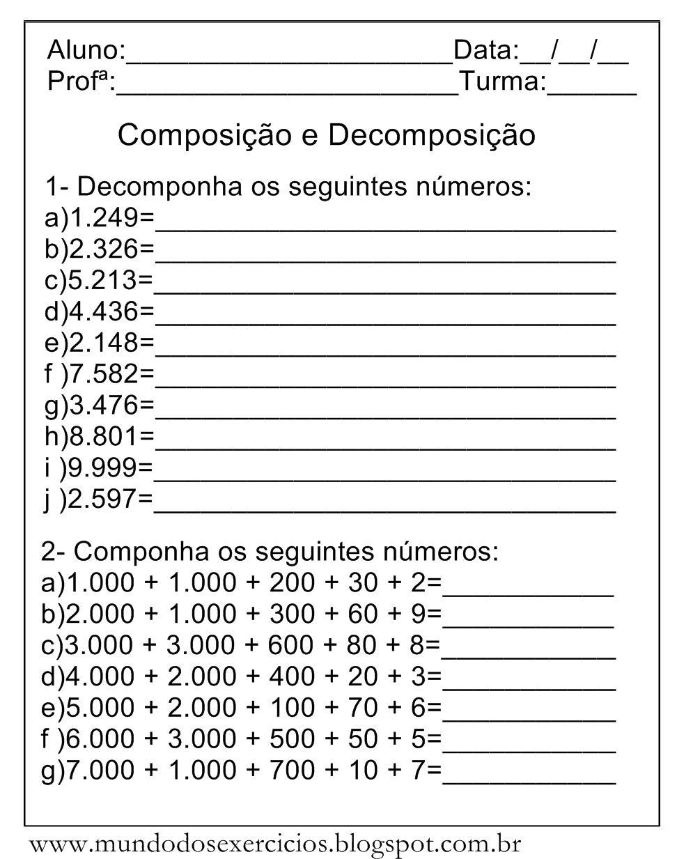 Atividades De Compor E Decompor Numeros Decomponha Os Numeros