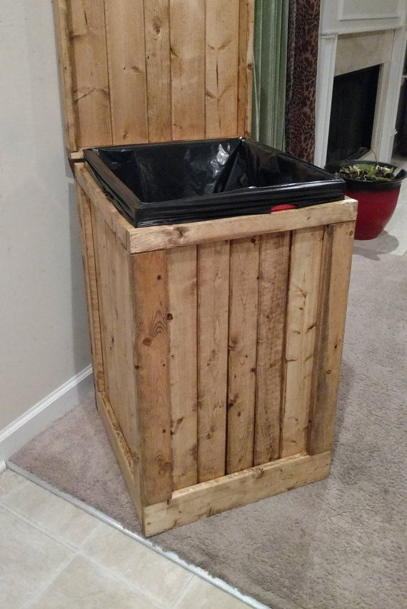 Wood Garbage Can 30 Gallon Trash Can Wood Trash Bin Wood Trash Can Kitchen Trash Cans Wooden Trash Can