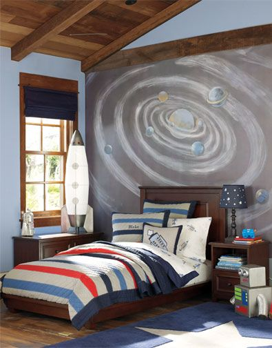 Boys Space Room love the mural, rocket lamp, and star lamp. very fun. might be a