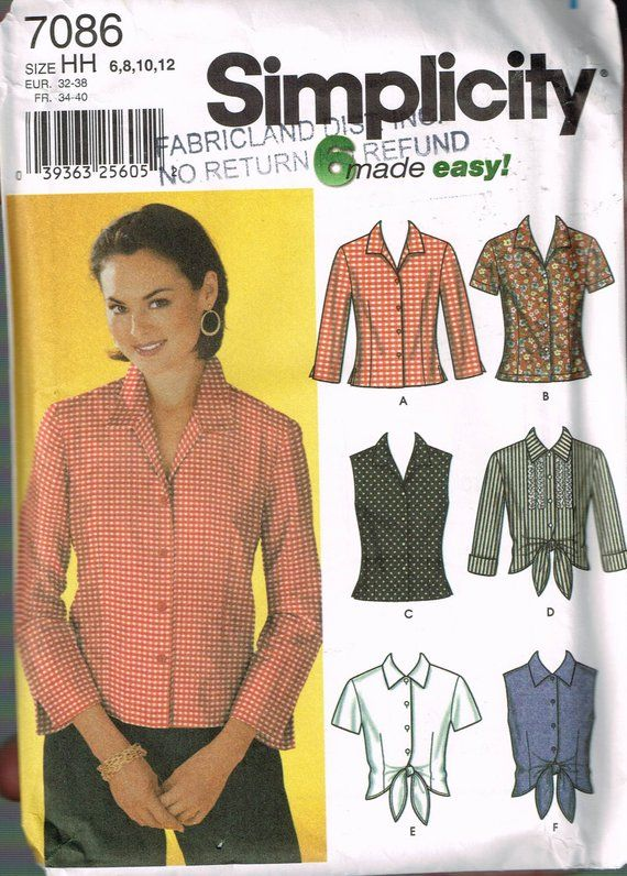 Size 6-12 Misses Easy Blouse Sewing Pattern - Tie Front Blouse ...