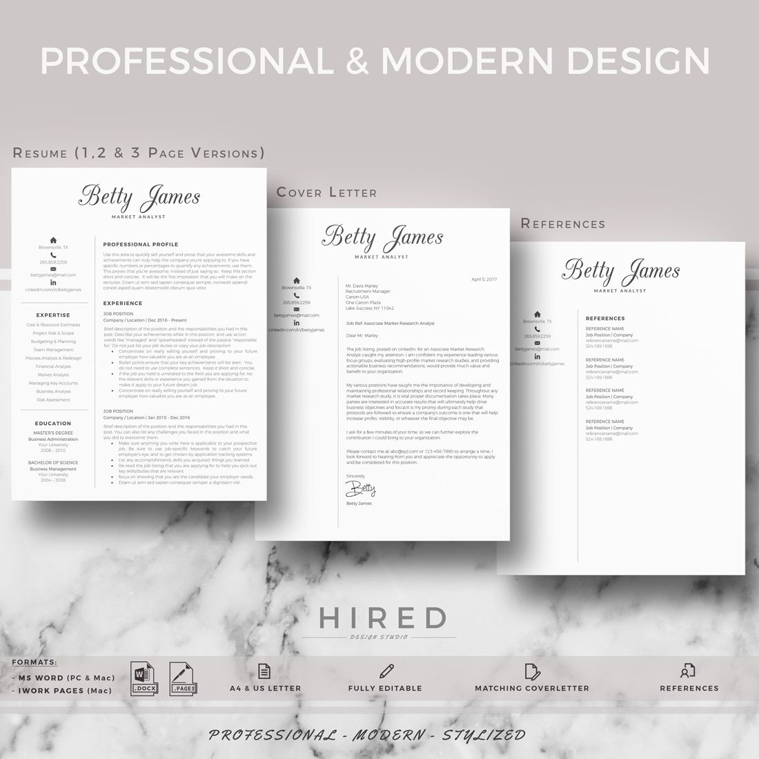 Resume template CV template Professional & modern