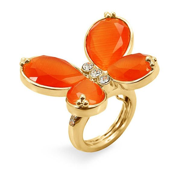 Ariella Collection Butterfly Ring Orange