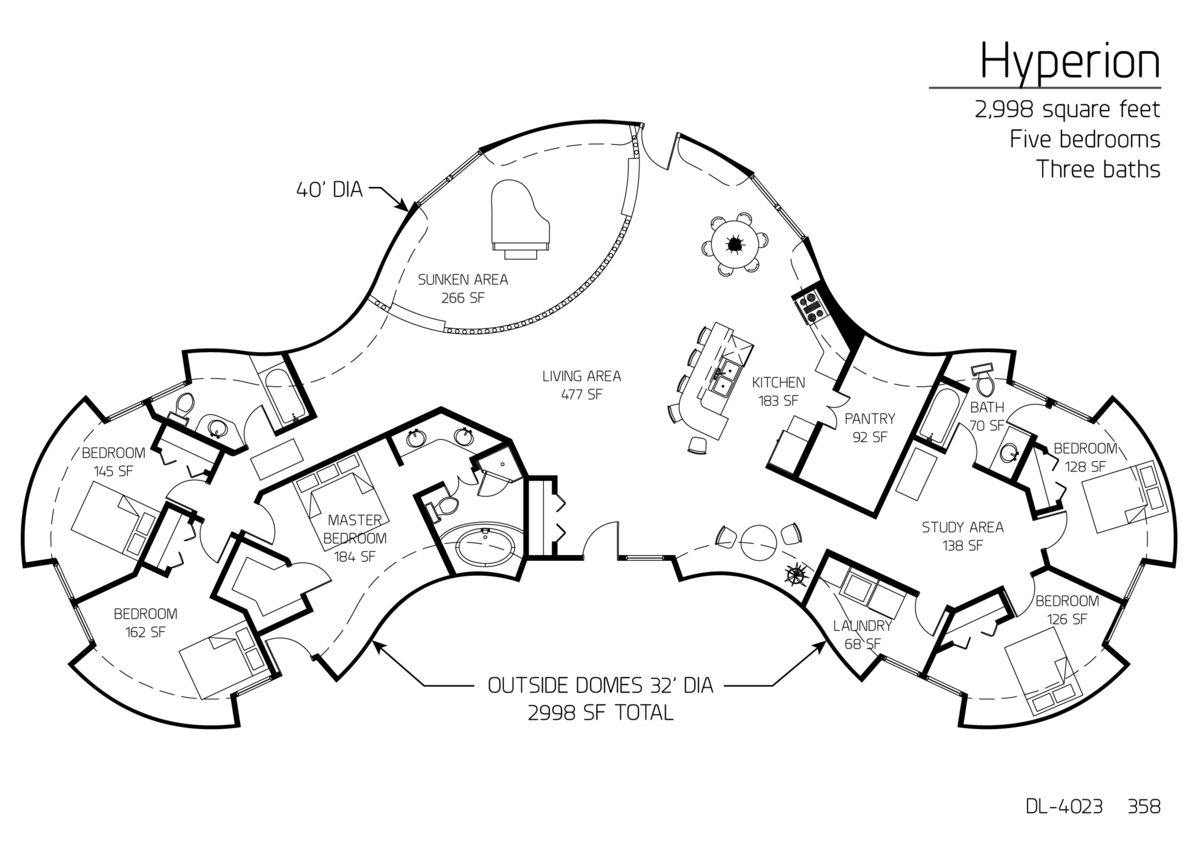hyperion series dome home 2,998 square feet five bedrooms three