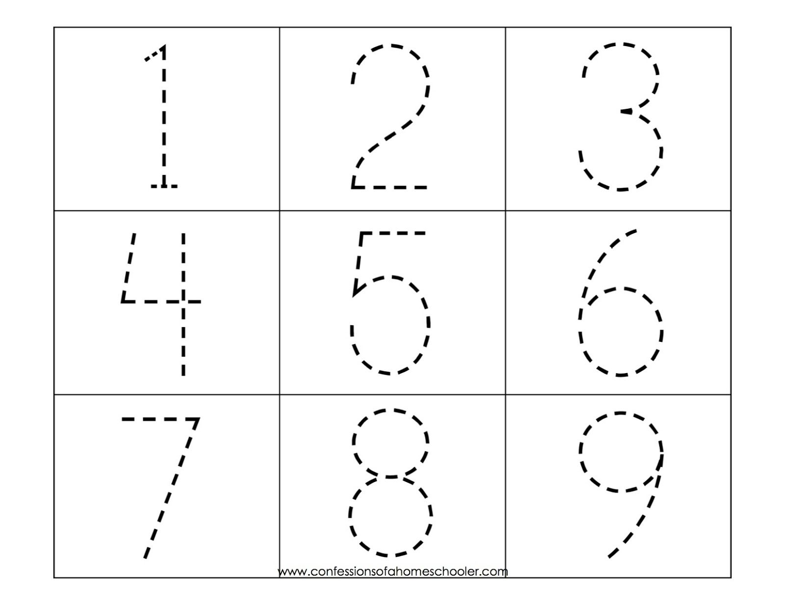 Tracing Numbers 1 10