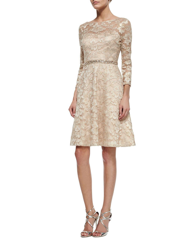Aidan mattox longsleeve lace beadedwaist fit u flare dress