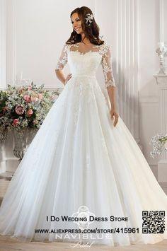 New White Ivory Wedding Dress Bridal Gown Custom Size 6 8 10 12 14 16 Kleider Hochzeit Armelhochzeitskleider Hochzeitskleid