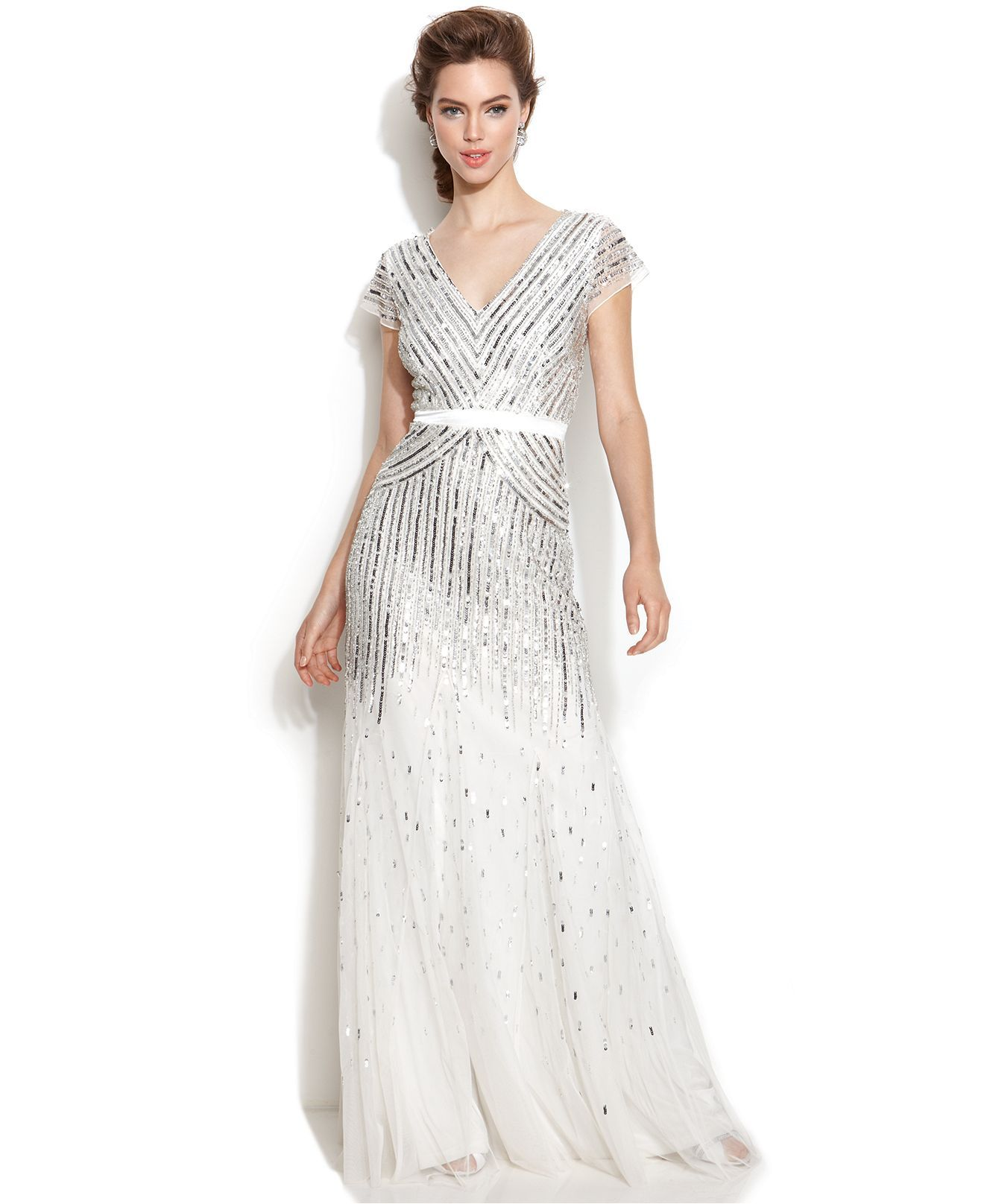 Papell cap sleeve beaded sequined gown dresses women macy s - Adrianna Papell Cap Sleeve Sequined Gown Wedding Dresses Women Macy S