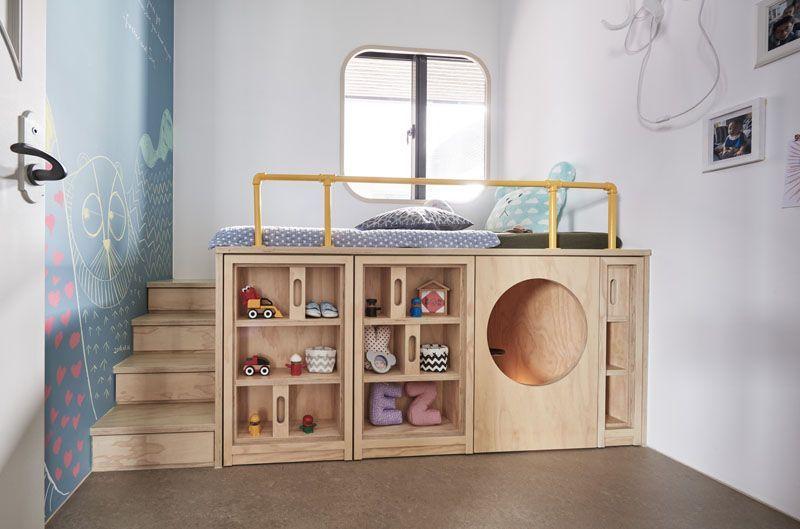 Hao Design Sozdali Detskuyu Spalnyu S Polzovatelskoj Krovatyu Kotoraya Byla Sproektirovana Takim Obra Childrens Bedrooms Modern Kids Bedroom Small Room Design