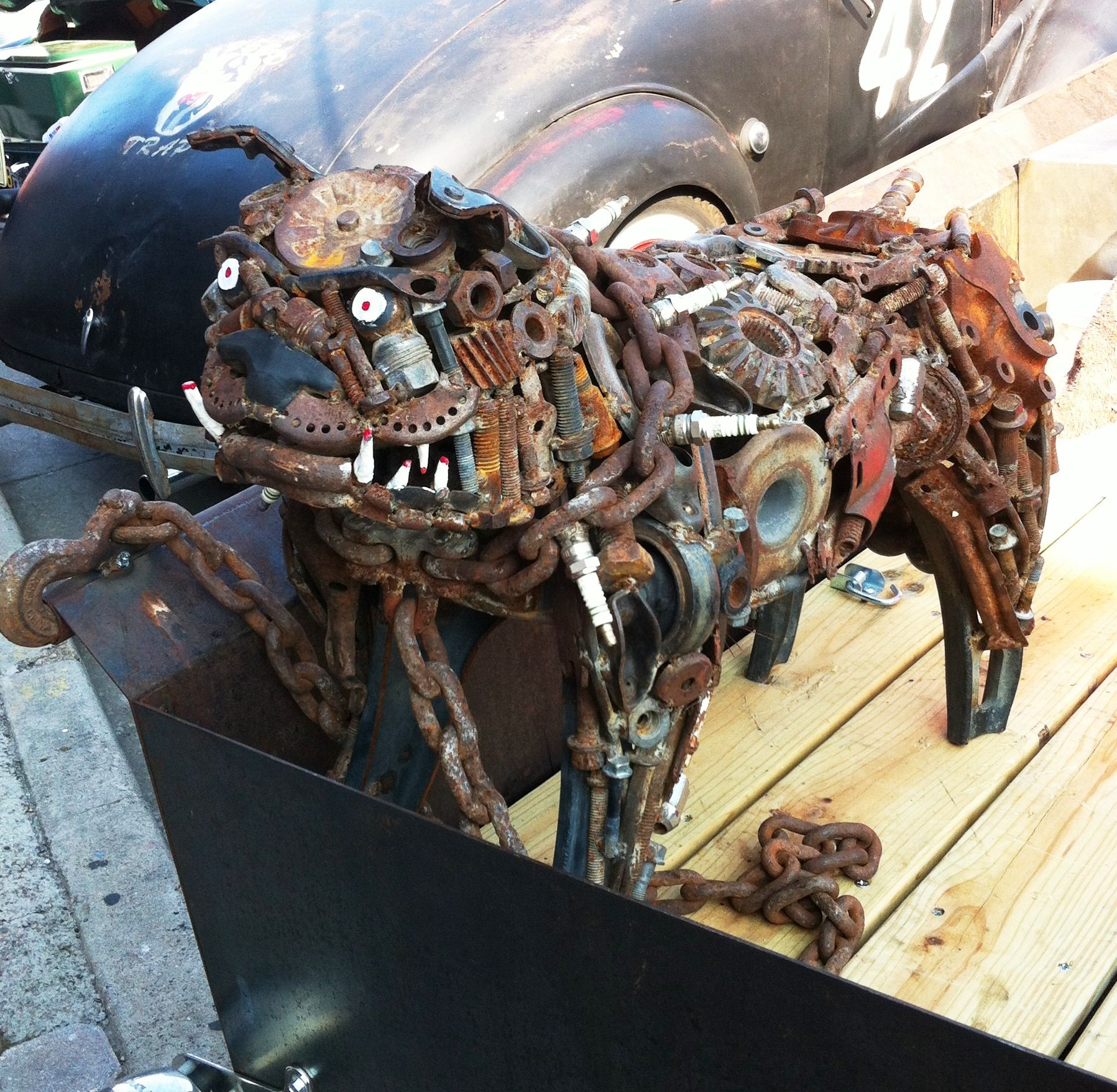 Junk yard dog made from nuts, bolts, etc., Super cool! Saw it at the ...