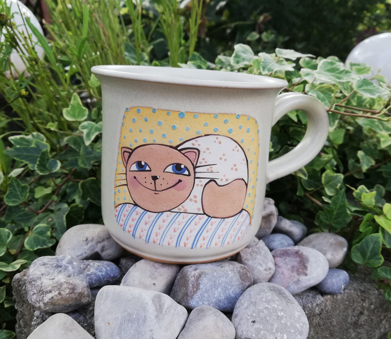MAXI Tasse Katze Kaffeetasse Teebecher 500 ml Handbemalt