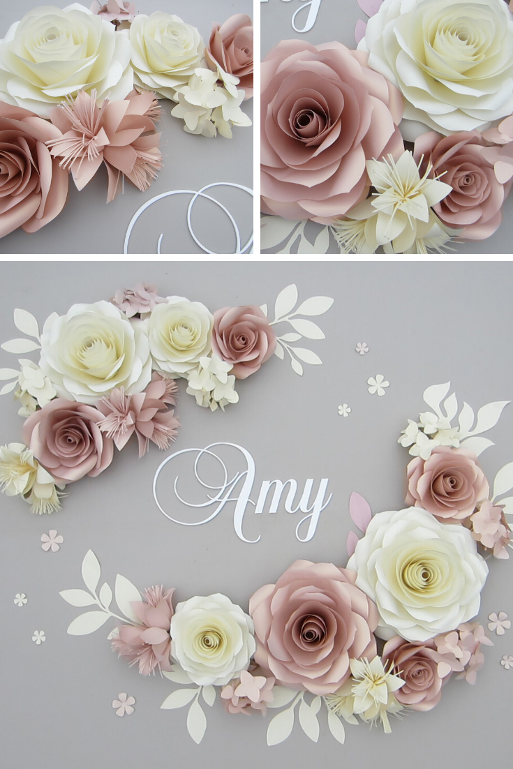 Baby Name Sign With Large Paper Flowers Wall Decor In Rose Gold