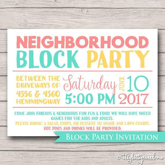 neighborhood block party invitation announcement invite card