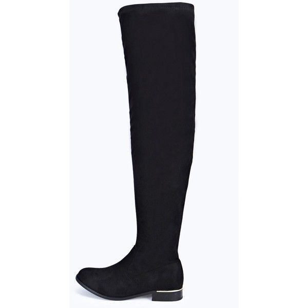 Boohoo Scarlett Stretch Knee High Flat Boot ($60) ❤ liked on Polyvore featuring shoes, boots, black, low heel ankle boots, black knee-high boots, chelsea boots, black over the knee boots and over the knee flat black boots