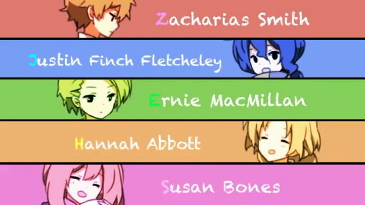 Zacharias Smith X Justin Finch X Ernie Macmillan X Hannah Abbott X Susan Bones