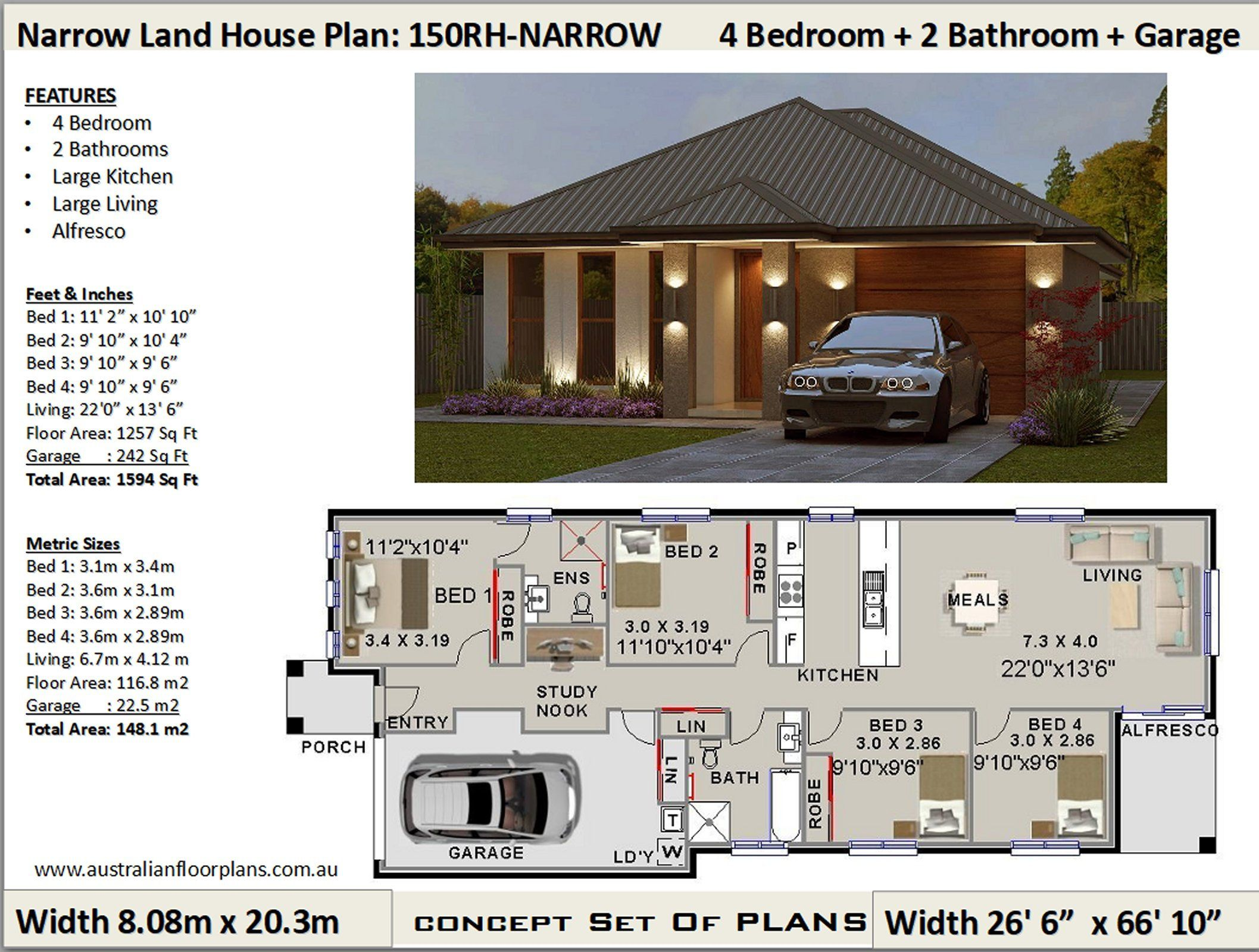 Small Land 4 Bed House Plans 4 Bedroom Design Australia Etsy House Plans Australia House Plans Porch House Plans