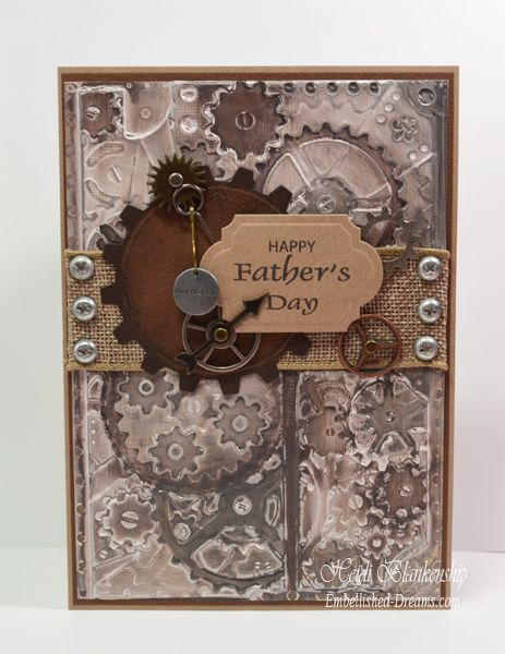 Gesso And Big Brush Pens Colored Foil Father S Day Card Steampunk Cards Masculine Birthday Cards Boy Cards