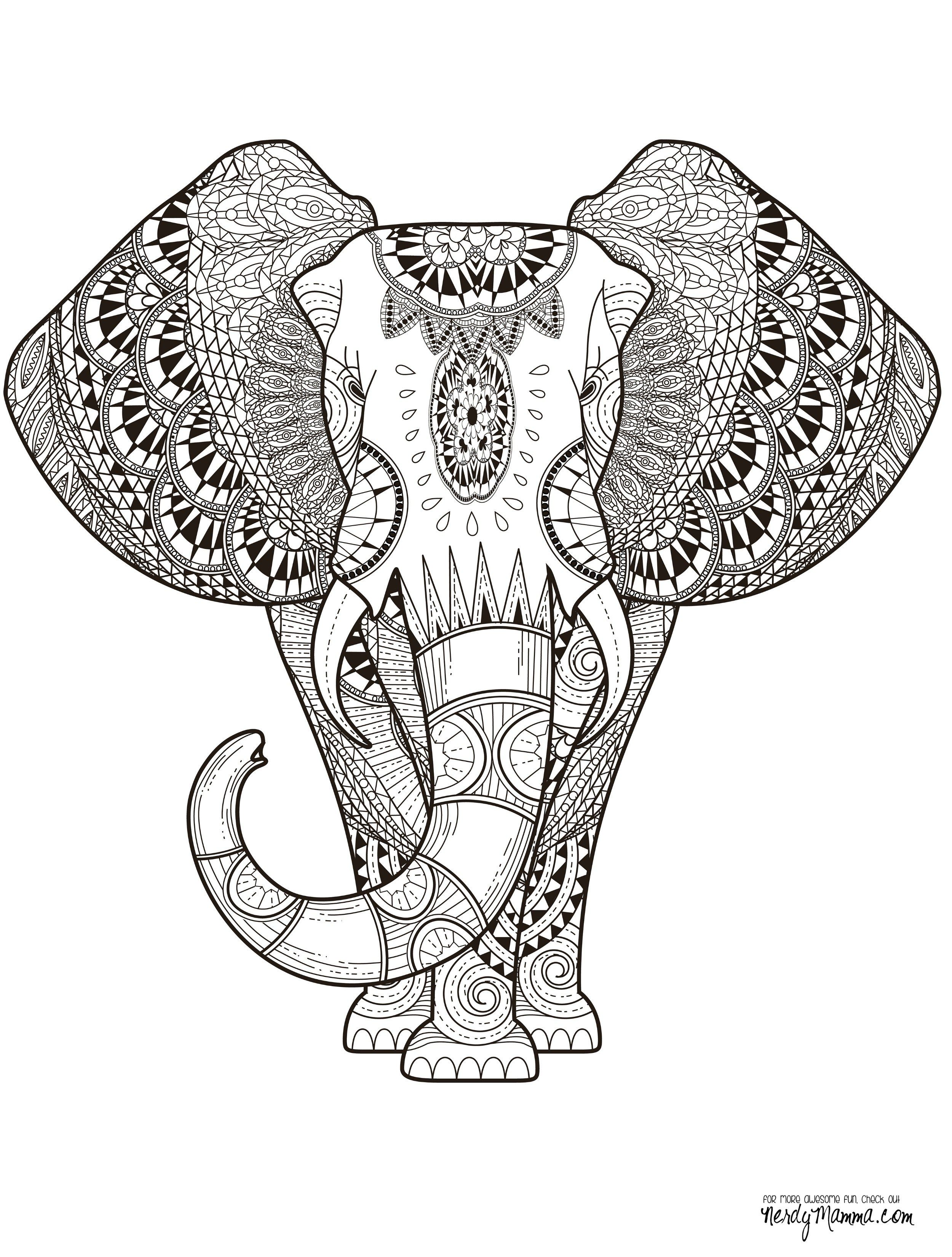 Elephant Abstract Doodle Zentangle Paisley Coloring Pages Colouring Adult  Detailed Advanced Printable Kleuren Voor Volwassenen Coloriage Pour Adulte  ...