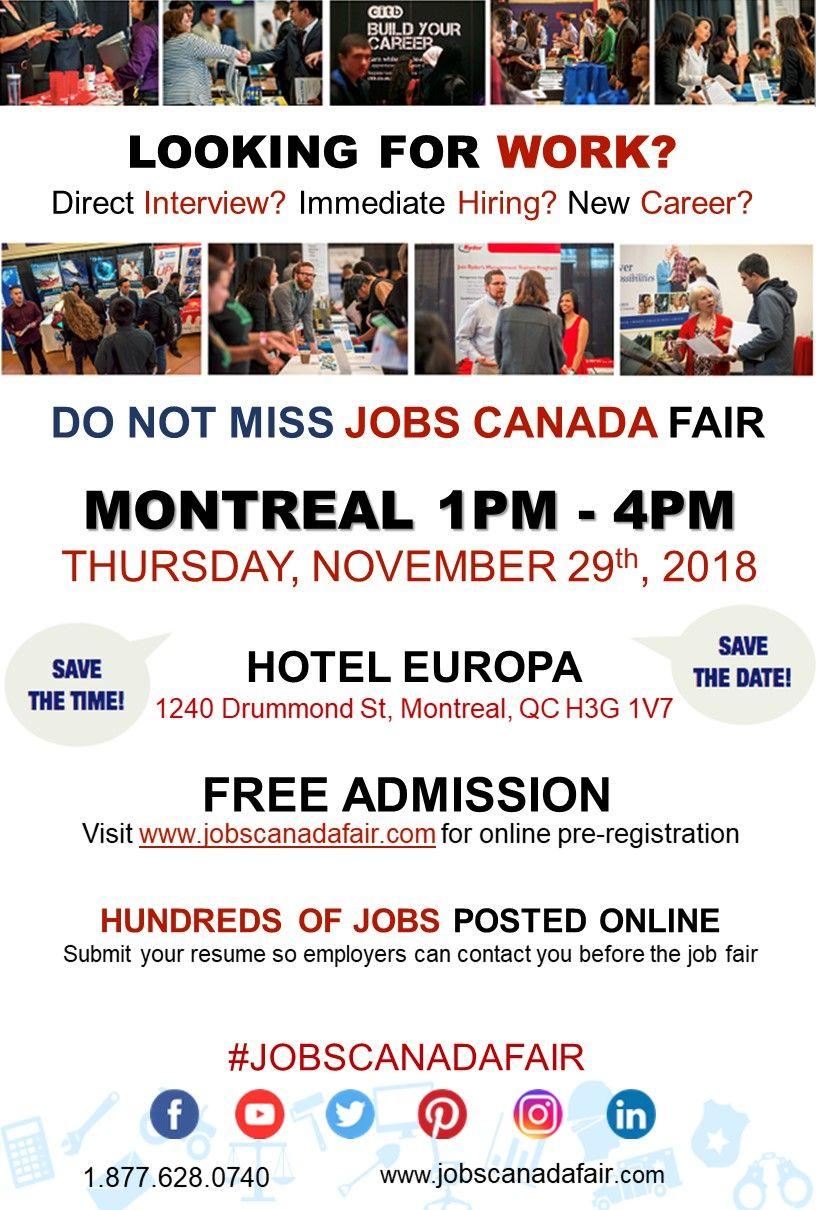 Looking for a job? Immediate hiring? Montreal Job Fair