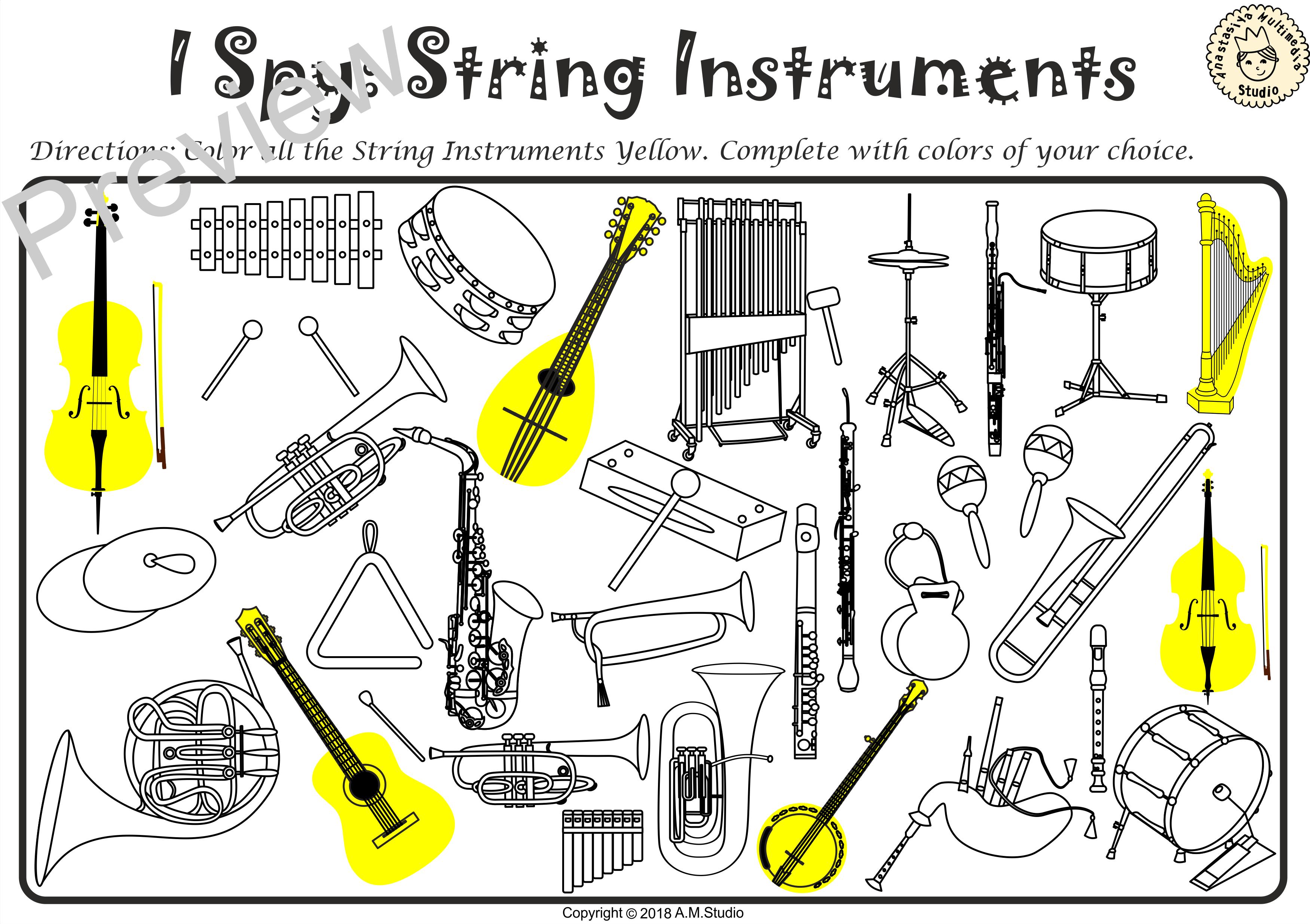 I Spy Instrument Families Coloring Games Anastasiya
