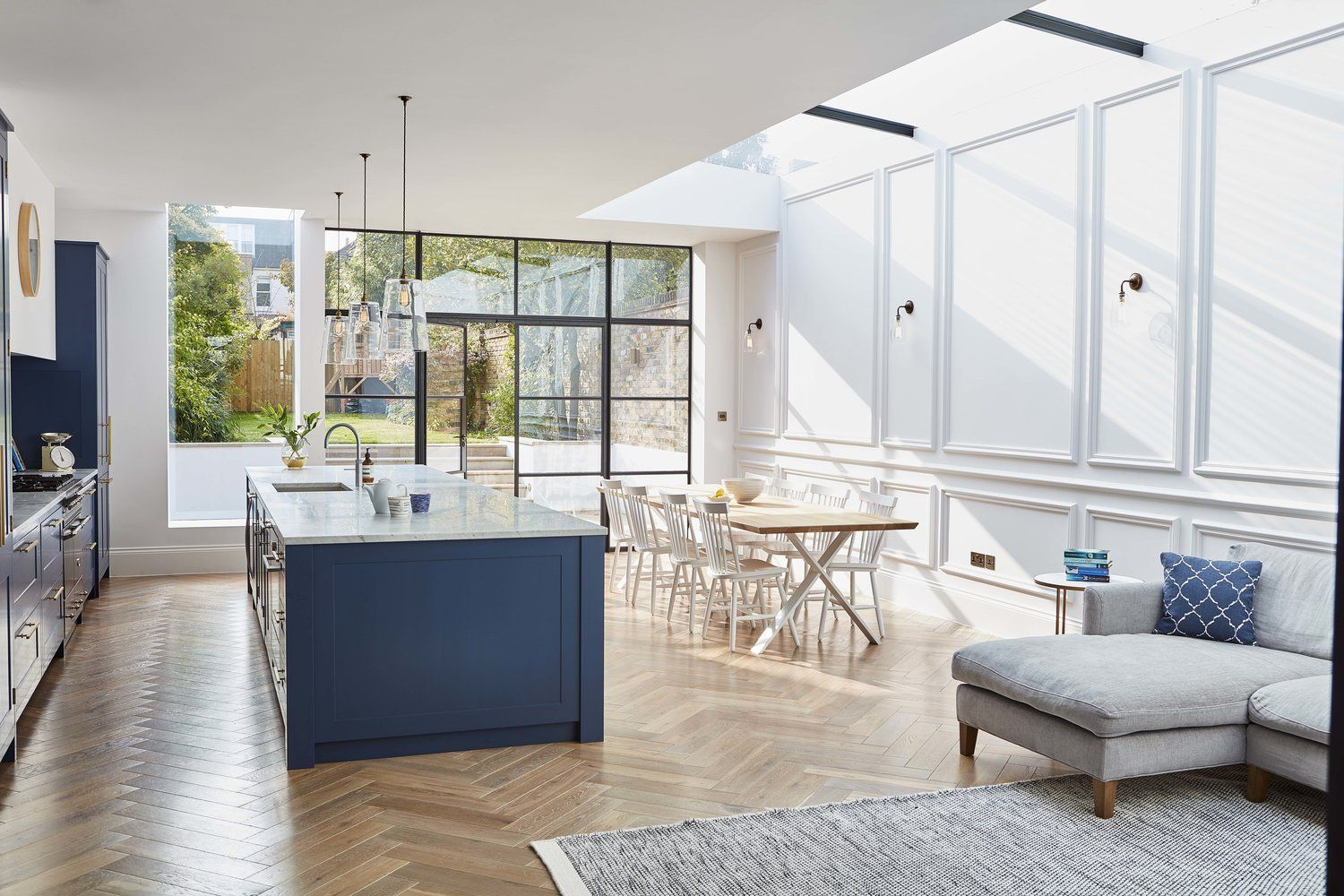 Kitchen Extension With Crittall Doors Herringbone Parquet Flooring Blue Cabinets And Brass Hardware Open Plan Kitchen Living Room New Homes House