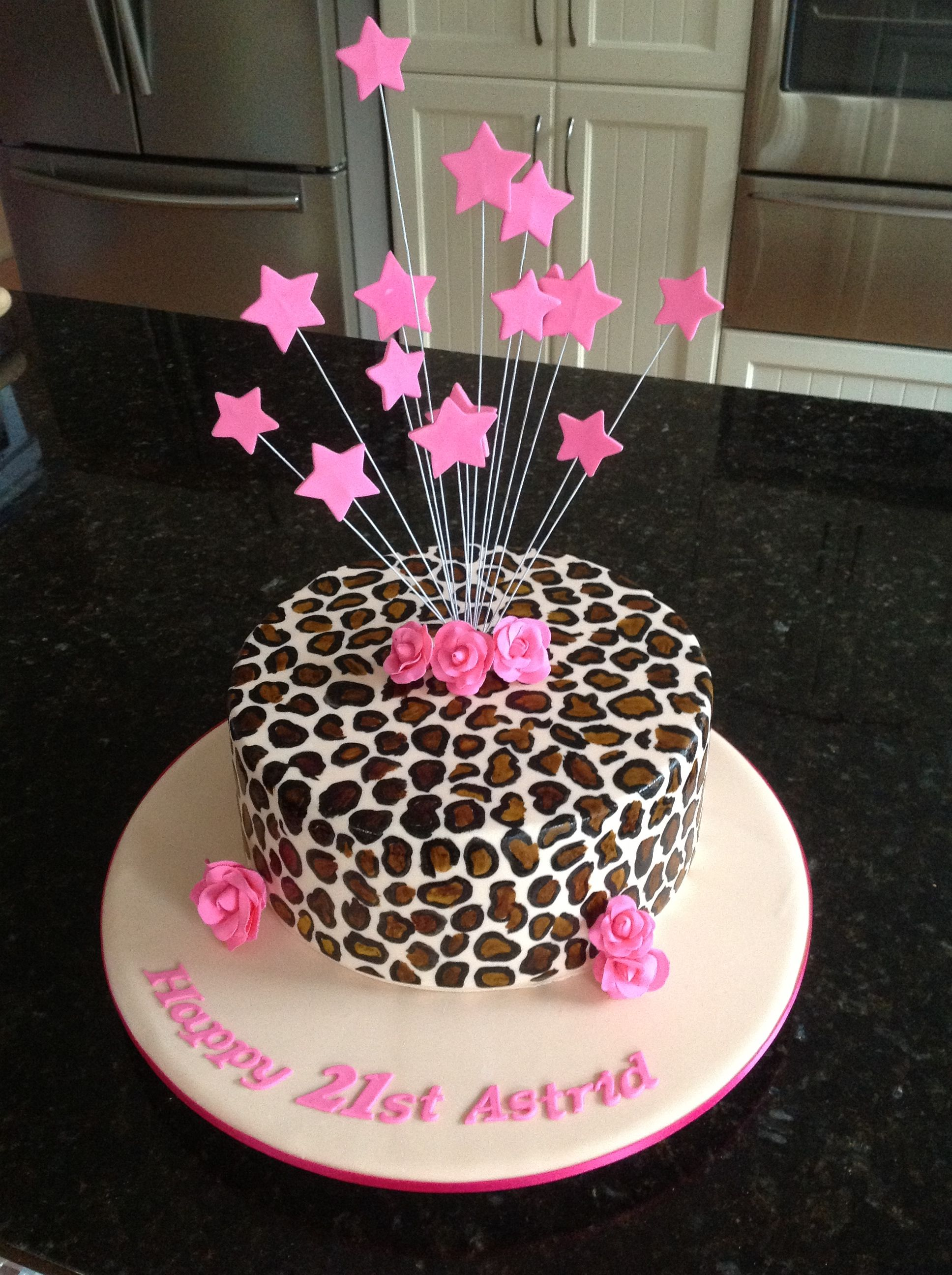 21st Birthday Cake In Leopard Print Airplane Bottles Instead Of