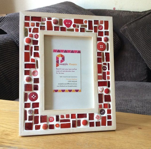 """Red Mosaic Photo Frame 6x4"""" Picture Frame, Glass Art, Christmas Gift £22.00"""