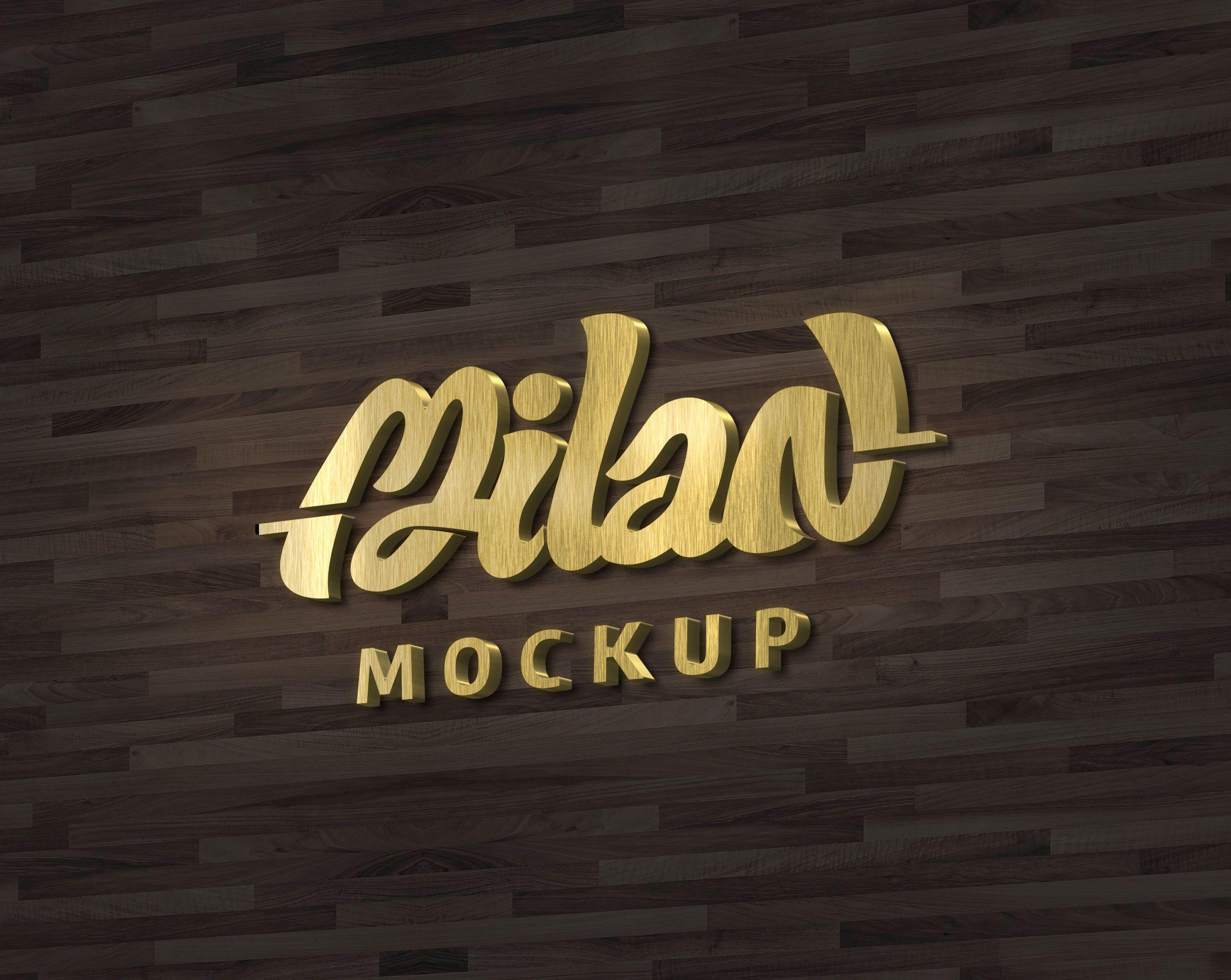 Confira meu projeto do Behance 'Mockup logo 3D Gold