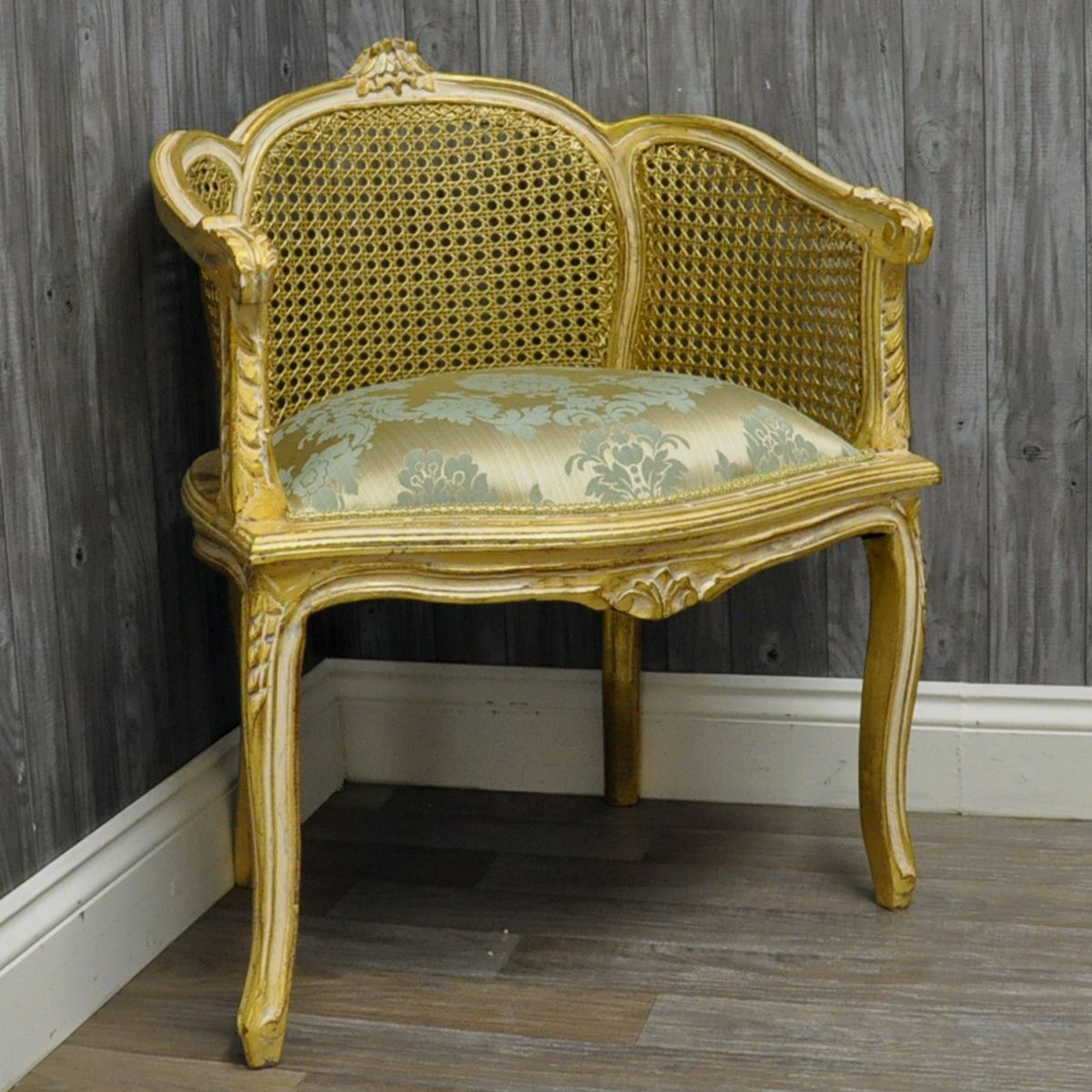 Chair King Houston Antique Gold Finish Wicker Back Louis Chair Upholstered
