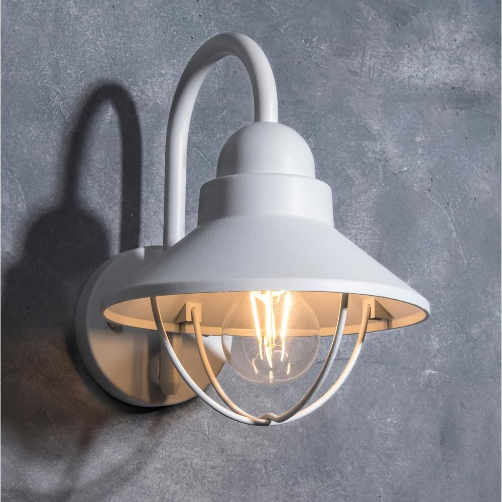 Lutec Coastal Mystic 1 Light White Outdoor Wall Lantern Sconce 5282001331 The Home Depot In 2021 Outdoor Wall Lantern Lantern Sconce Porch Light Fixtures