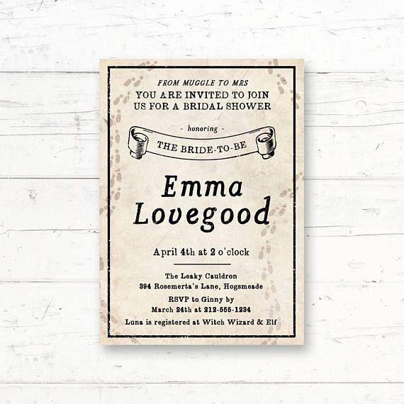 Harry Potter Marauders Map Bridal Shower Printable Invitation