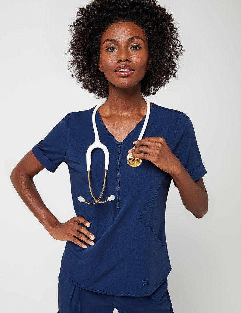 05b55609af3 Relaxed Cuff Sleeve Top in Black - Medical Scrubs | Back | Cuff ...